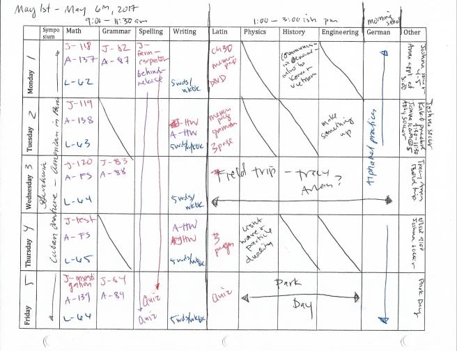 homeschool weekly schedule cropped